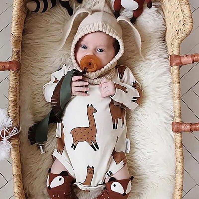 TinyPeople 2019 Alpaca Print Baby Bodysuit Baby Boys Onesie Girl Jumpsuit Newborn Spring Autumn Cotton Long Sleeve Baby Clothing