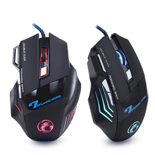 Ergonomiczna przewodowa mysz do gier 7 przycisk LED 5500 DPI komputer USB mysz mysz dla gracza X7 Silent Mause z podświetleniem na PC Laptop cheap iMice CN (pochodzenie) Przewodowy 190g Opto-elektroniczny Aug-13 WM5000X7 Prawo colorful 5 million cycle 1600-2400-3200-5500