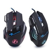 Ergonomische Wired Gaming Maus 7 Taste LED 5500 DPI USB Computer Maus Gamer Mäuse X7 Stille Mause Mit Hintergrundbeleuchtung Für PC Laptop