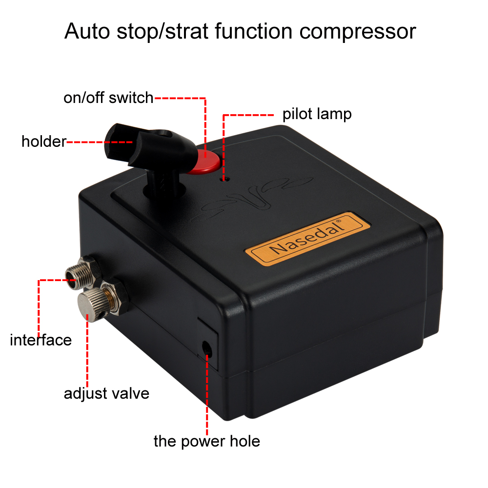 Tools : Nasedal Auto-Stop Compressor Airbrush Kit 0 3mm Dual-Action Airbrush Spary Gun for Cake Decor Nail Art Model Car Painting NT-66B