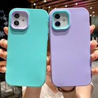 Funda de teléfono de silicona blanda 3 en 1 para iPhone, carcasa trasera de Color caramelo a prueba de golpes para iPhone 12 11 Pro Max 12 Mini XR XS Max X 7 8 Plus