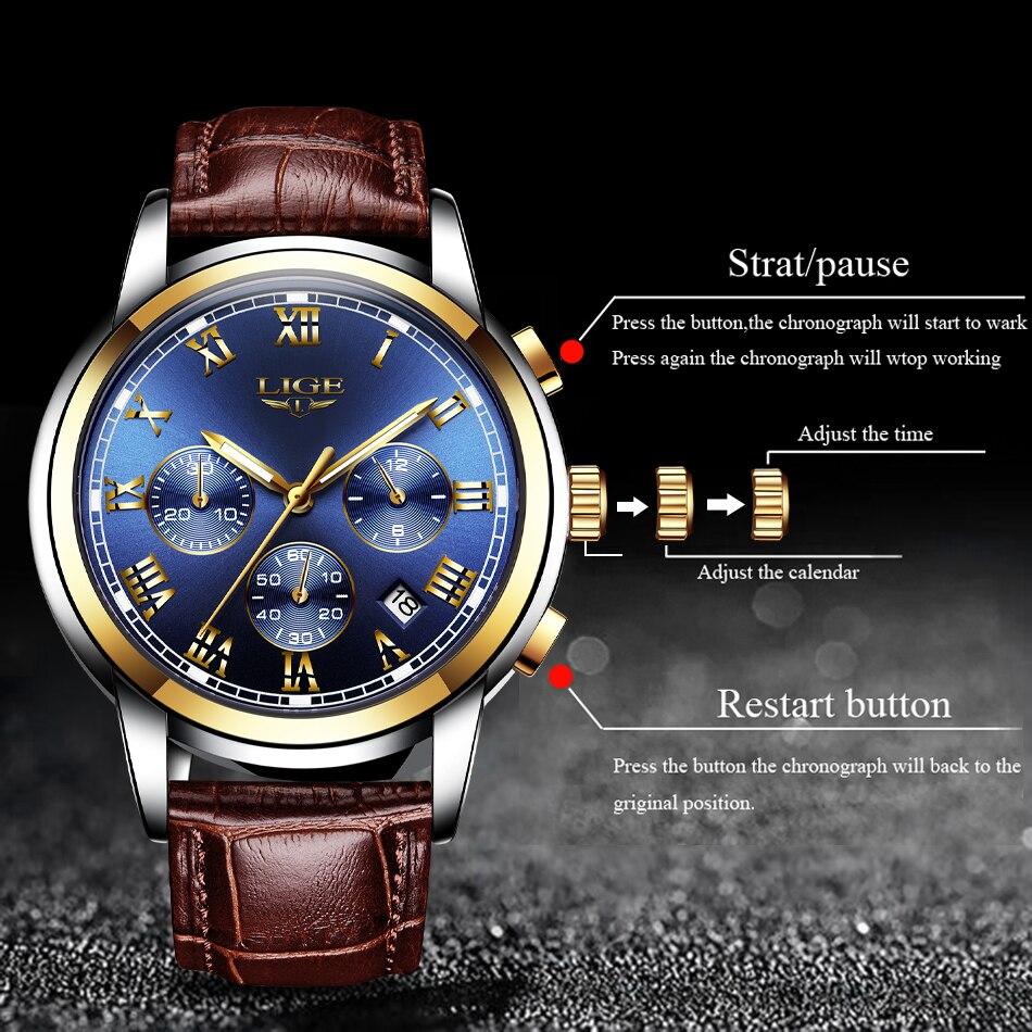 Hc78955644e814925a5690dc41b46c57fv Watches Mens 2019 LIGE Top Brand Luxury Green Fashion Chronograph Male Sport Waterproof All Steel Quartz Clock Relogio Masculino