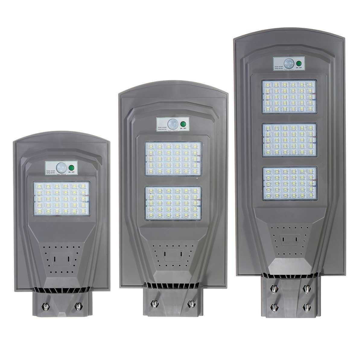 Grey LED Solar Street Light PIR Motion Sensor LED Outdoor Lighting Garden Wall Lamp 30W 60W 90W Waterproof IP67