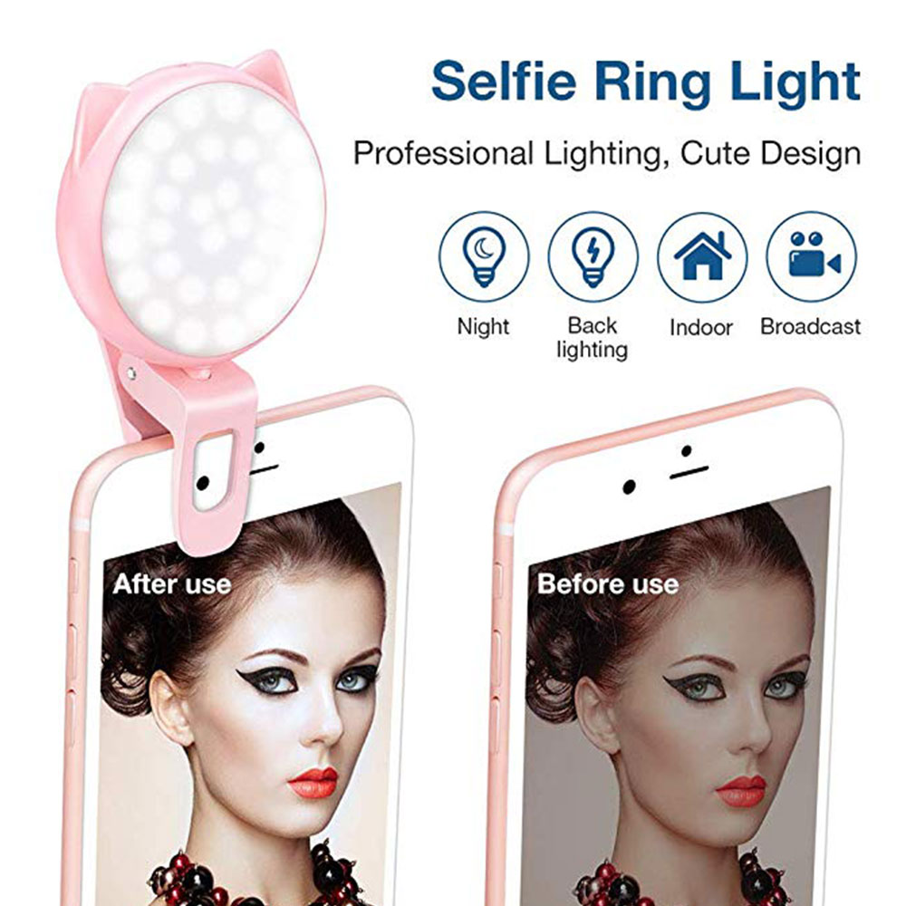 Selfie Ring Light LED Rechargeable Clip On Ring Light With 3 Brightness 32 Bulbs Mini USB Fill Light For Makeup Phone