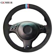 DIY Hand stitched Black Suede Car Steering Wheel Cover for BMW E39 E46 330i 525i 530i 540i 330Ci M3 20012002 2003