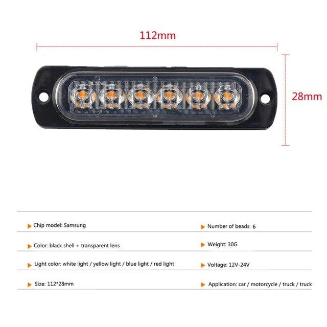 Awaryjne światło stroboskopowe 6 LED bursztynowe uniwersalne 12V migające odzyskiwanie ostrzeżenie boczne ostrzeżenie dla samochodów ciężarowych nowość
