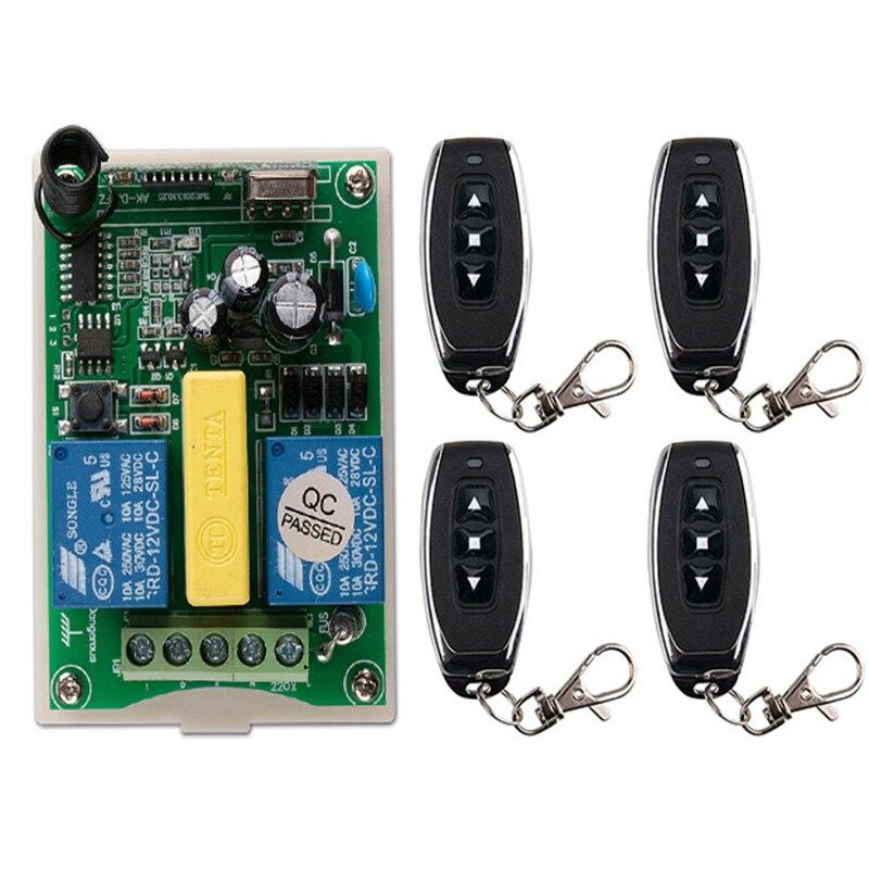 Interruptor de controle remoto sem fio, ac 220 v 2 ch 2ch rf, transmissor + motor tubular, tela de projeção da porta da garagem obturadores