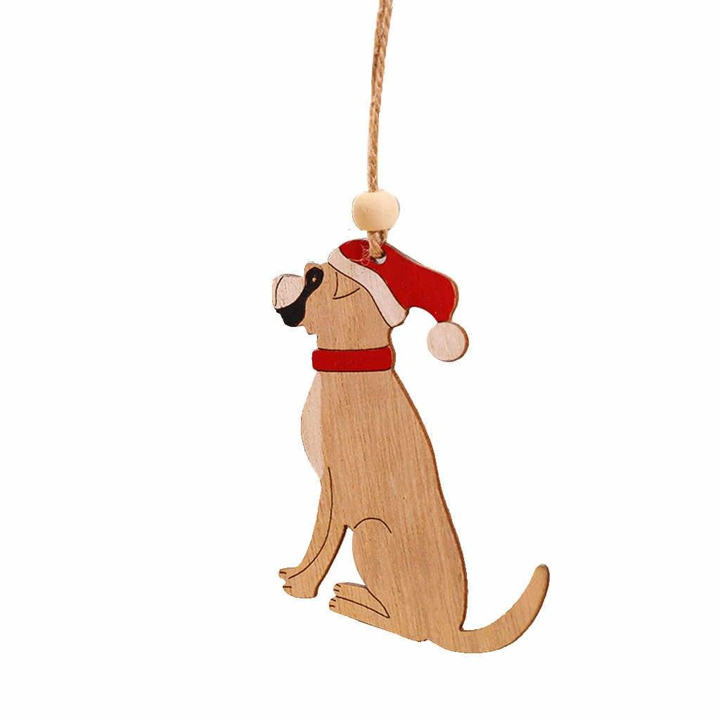 8 piezas de madera colgante árbol de Navidad cabina alce coche ornamento Navidad Fiesta hogar Decoración para Casa Santa Claus Feliz Navidad Fiesta Decoración