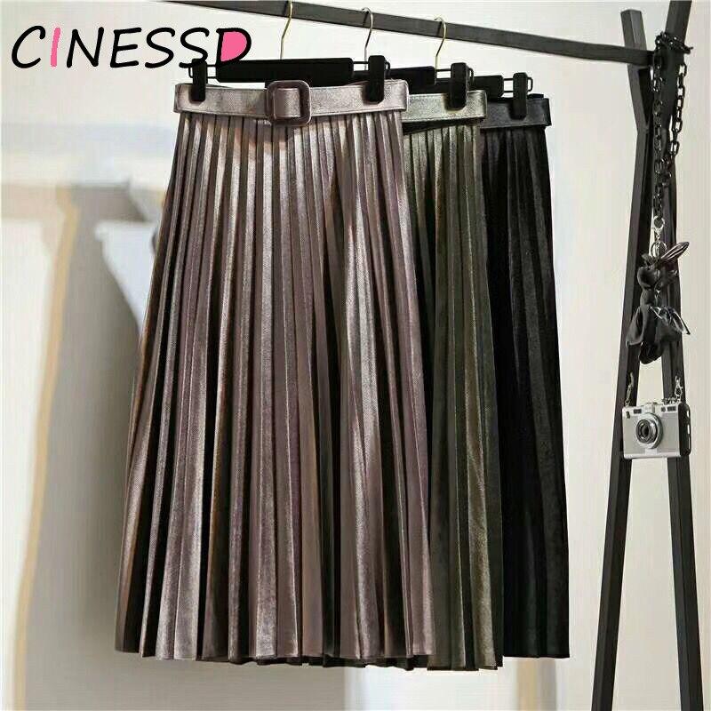 High Quality With Belt 2019 Autumn Winter Velvet Skirt High Waist Skinny Large Swing Long Pleated Skirts Metallic Plus Size Saia