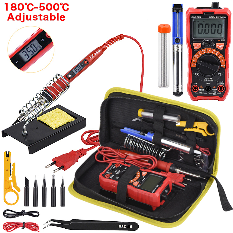 Soldering Iron Kits 80W 220V Adjustable Temperature Digital Multimeter Auto Ranging LCD Solder Iron Tips Welding Rework Tools