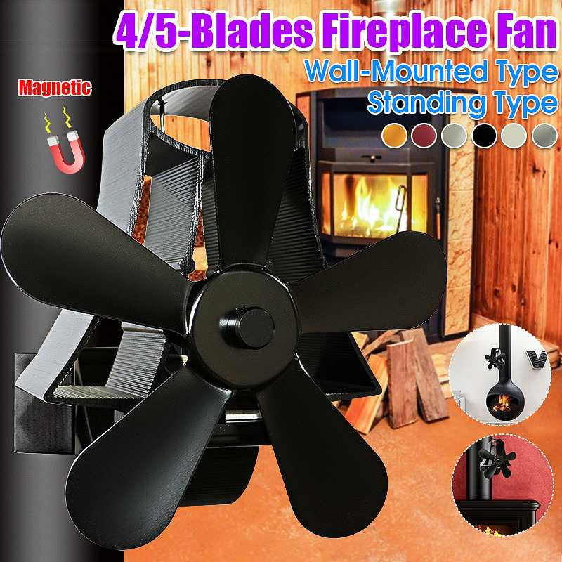4/5 Blade Wall Mounted Heat Powered Stove Fan Komin Log Wood Burner Eco Friendly Quiet Fan Home Efficient Heat Distribution