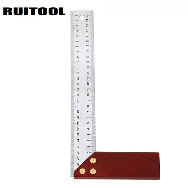 Ruitool 90-Degree Square Wooden Handle Thick Stainless Steel Woodworking L-square Protractor 300 Size