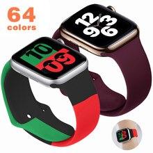 Pulseira de silicone macio para apple watch 6 séries se 5 4 3 2 1 44mm 40mm pulseira de borracha para iwatch 4/5 42mm 38mm pulseira cinto