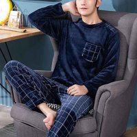Pijama de franela de manga larga para hombre, conjunto con cuello redondo, estampado de huellas terciopelo, coralino grueso, para dormir, cálido, para invierno
