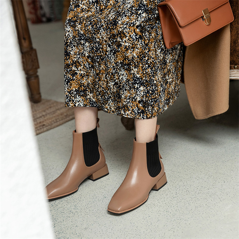 Meotina Genuine Leather Mid Heel Short Boots Chelsea Boots Women Shoes Square Toe Thick Heels Slip On Ankle Boots Brown Black 40