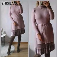 Knitted Sweater Dress Women Winter A line Dress Plus Size Elegant Solid High Waist Dress Mujer Autumn Winter 2019 Two Piece Set