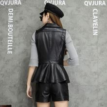 New Spring Sheepskin Single Button Genuine Leather Vest Women Sleeveless Ruched Fashion Black Natural Leather Female Jackets(China)