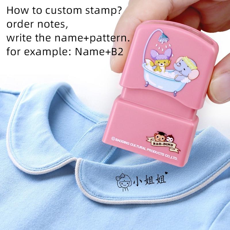 Children's Name Seal Custom Student's Name Stamp Kindergarten Clothes Waterproof Name Sticker Kawaii Montessori Stamp Gift