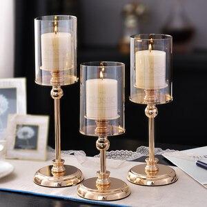 Роскошные стеклянные подсвечники, свадебные украшения, романтичный подсвечник для гостиной, центральный стол, золотой домашний декор CC50ZT