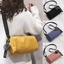 Модная женская сумка через плечо в простом стиле, одноцветная Холщовая Сумка через плечо, модная женская сумка-мессенджер в Корейском стиле