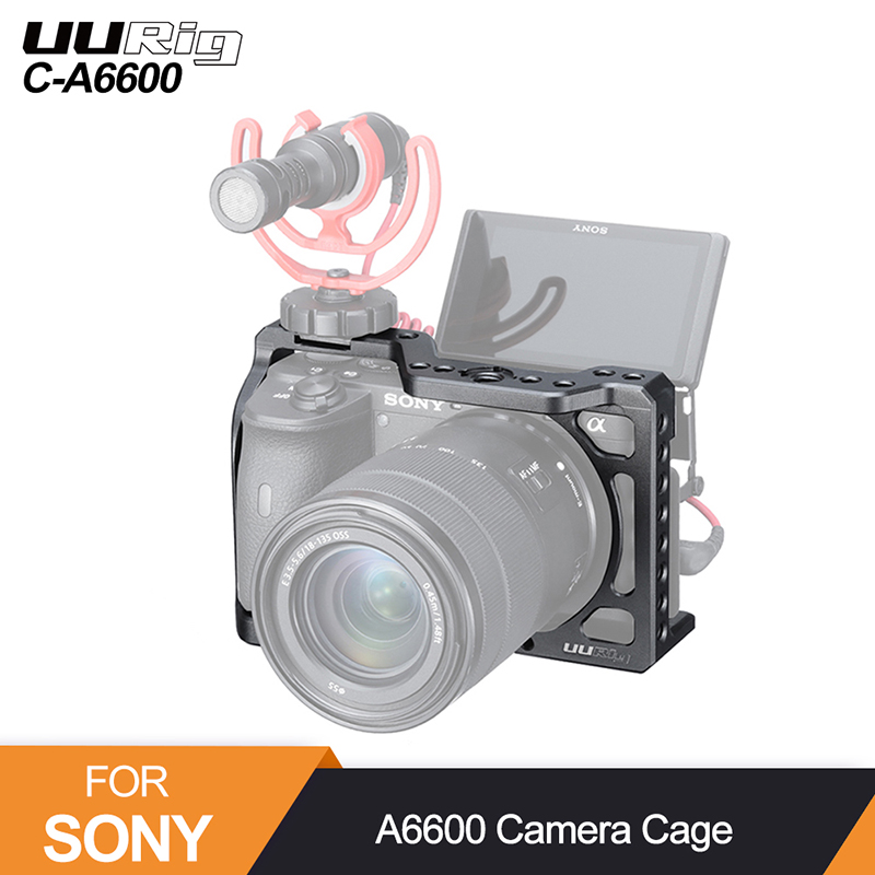 UURig C-A6600 Camera Cage for Sony A6600 1/4 Thread Hole to Top Handle Monitor Mic LED Light Cold Shoe Mount Protection Cage