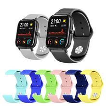 Kolorowe silikonowy pasek do zegarka dla Huami Amazfit GTS Smartwatch opaska dla Huami Amazfit Stratos 2 Amazfit Bip akcesoria tanie tanio HGHZYL Pasek zegarka Wszystko kompatybilny Angielski Rosyjski Dla dorosłych Passometer Fitness tracker Uśpienia tracker