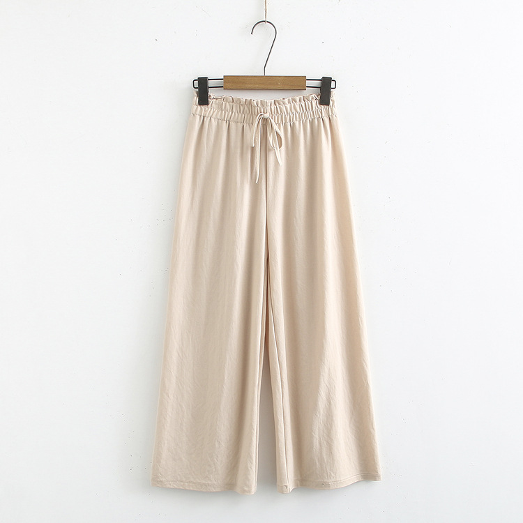Drape Loose Pants Spring And Autumn New Style Korean-style High-waisted Loose-Fit Capri Slimming Versatile Lace-up Pants Fashion