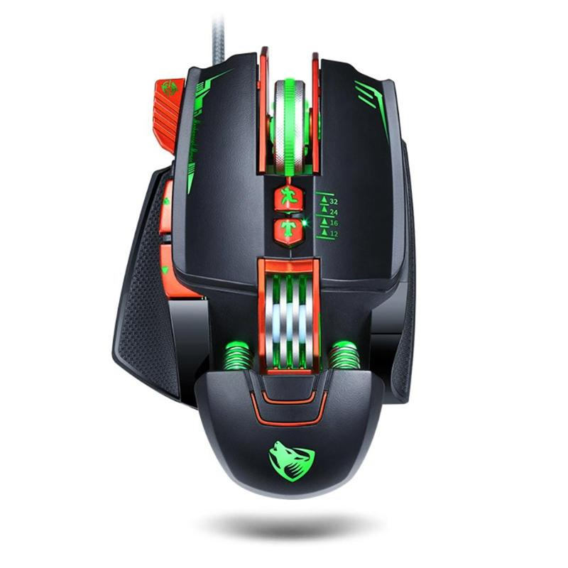 VODOOL V9 1200/1800/2400/3200 DPI Adjustable USB Wired Gaming Mouse RGB Backlight Macro Definition Mechanical Mouse Gamer Mice