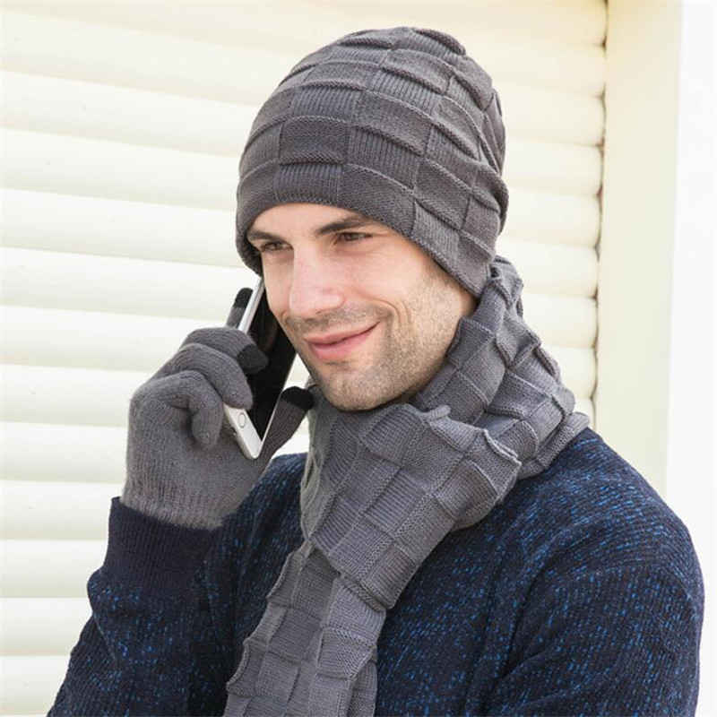 Winter Men Knitted Long Scarf Hat Gloves 3 Piece Set Man 2019 Warm Plush Protection Ear Cap Scarves And Touchscreen Gloves