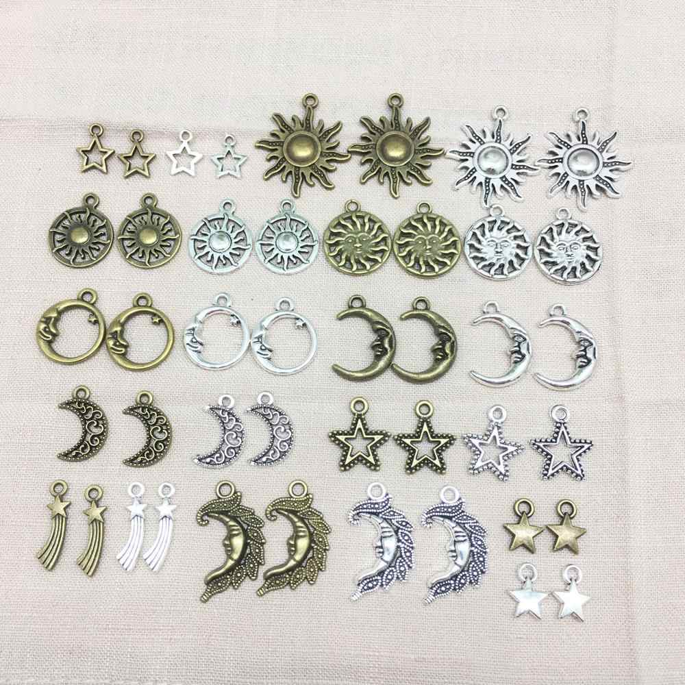 Vintage Mixed 20pcs Moon Star Sun Metal Charms Pendants DIY Neacklace Handmade Jewelry Making Accessaries