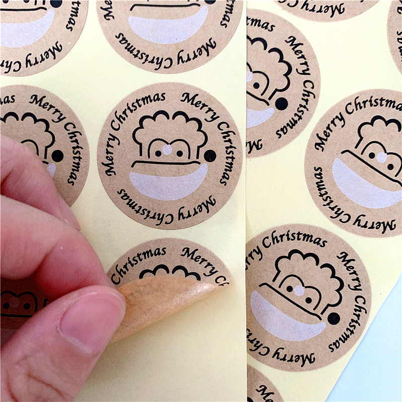 100PCS/lot Vintage Merry Christmas Santa Claus Round Kraft Seal Sticker For Handmade Products  Label