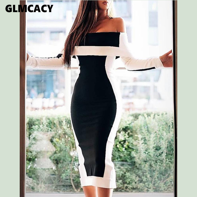 Women Off Shoulder Colorblock Insert Bodycon Dress Elegant Bodycon Club Party Dress Classy Evening Vestidos