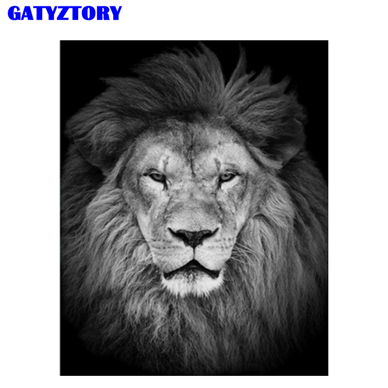 GATYZTORY Animal Lion Frame Kits Acrylic DIY Canvas Painting By Numbers Hand Painted Modern Wall Art For Living Room