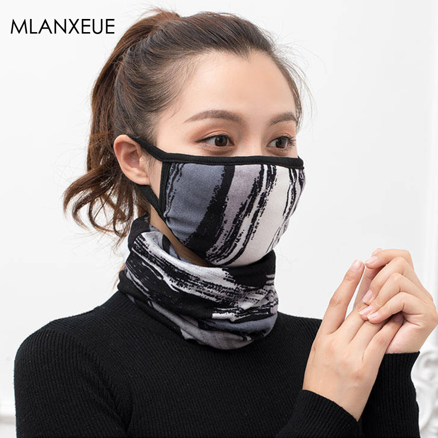 Multi-color Print Cotton Mouth Mask Multifunction Suits Women Warm Soft Confortable Ring Scarf Streetwear Dustproof Face Mask