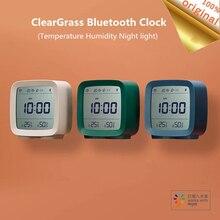 في المخزون Qingping بلوتوث مستشعر درجة الحرارة والرطوبة ليلة ضوء LCD ساعة تنبيه Mihome App التحكم ميزان الحرارة