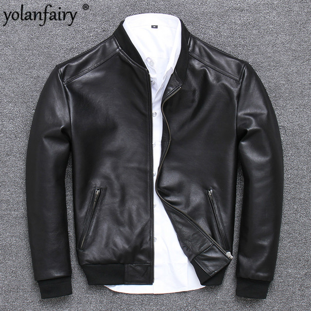 2020 Mens Leather Jacket Sheepskin Coat Genuine Leather Jacket Men Spring Autumn Plus Size Light Bomber Jacket U-352 KJ2282