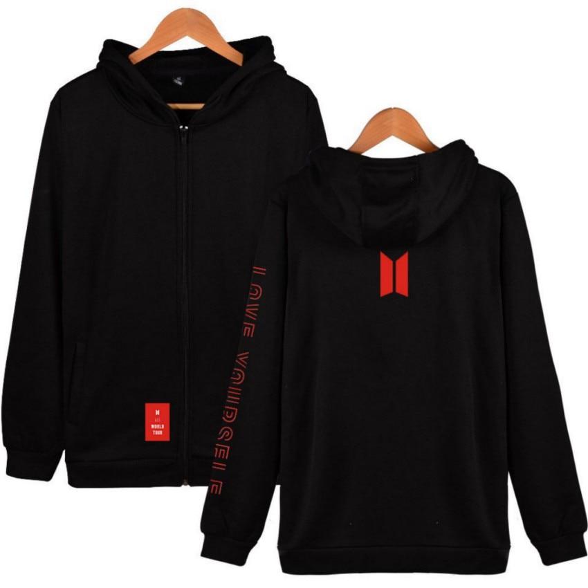 Women's Men's Long Sleeve Hoodies Love Yourself Zipper Hooded Sweatshirt Bangtan Sudadera Mujer Moletom Damska