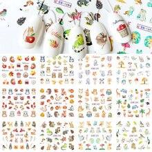 12 видов осень кленовый лист наклейки для ногтей милые животные