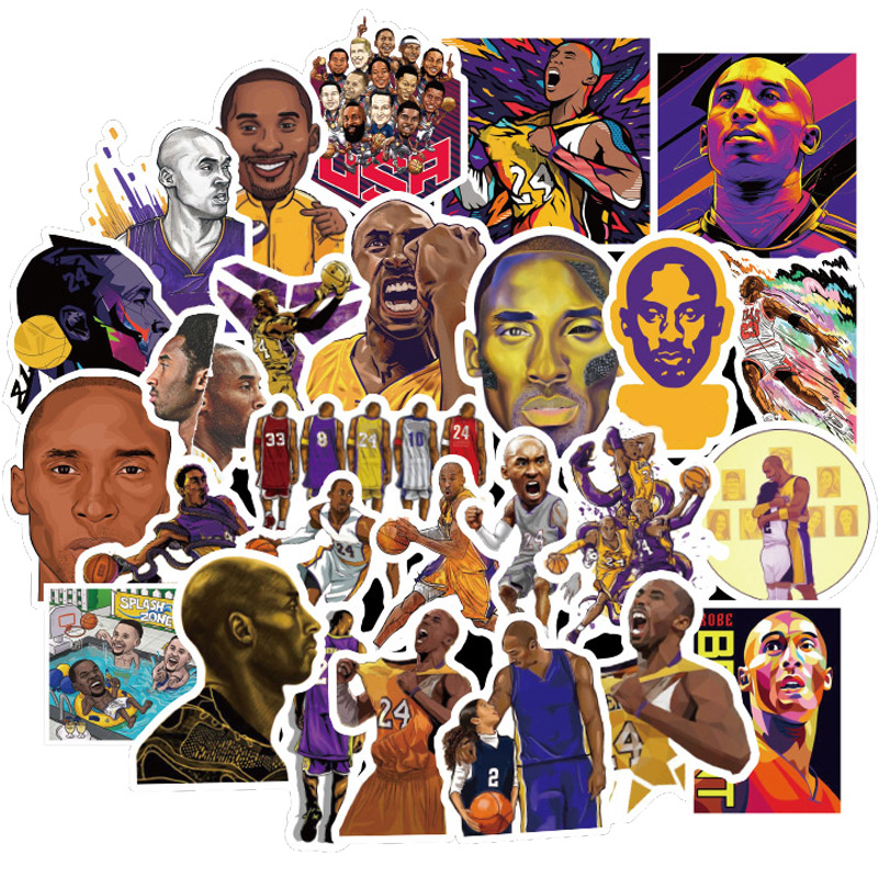 50pcs/Pack Superstar Kobe Stickers DIY Memorial Black Mamba Basketball Athlete PVC Waterproof Sticker