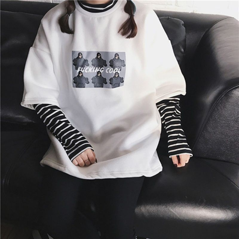 NiceMix Long Sleeved T-Shirt Female Spring Autumn Fake Two Pieces Striped Harajuku Bf Wind Print Wild Loose Personality Student
