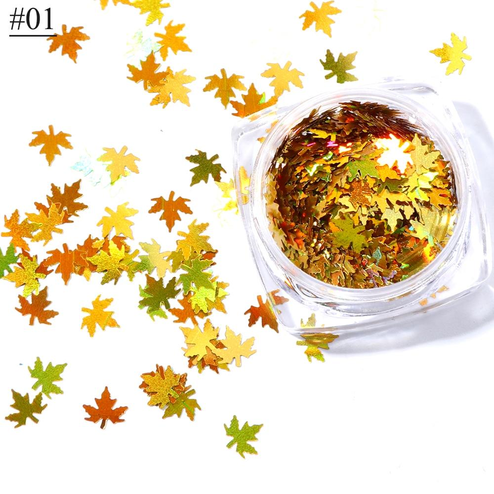 """1 коробка кленовые листья дизайн ногтей голографические блестки наклейки """"хамелеон"""" для ногтей осенний дизайн Декор SA1528 - Цвет: 01"""