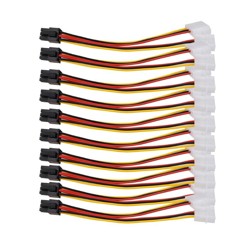 10PCS Molex (4 Pin) To PCI-E (6 Pin) Power Converter Adapter Connector
