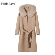 Wool Coat Carshmere-Coat Hot-Sale Fox-Fur-Collar Pink Fashion Real Java QC19055-2 Big-Size