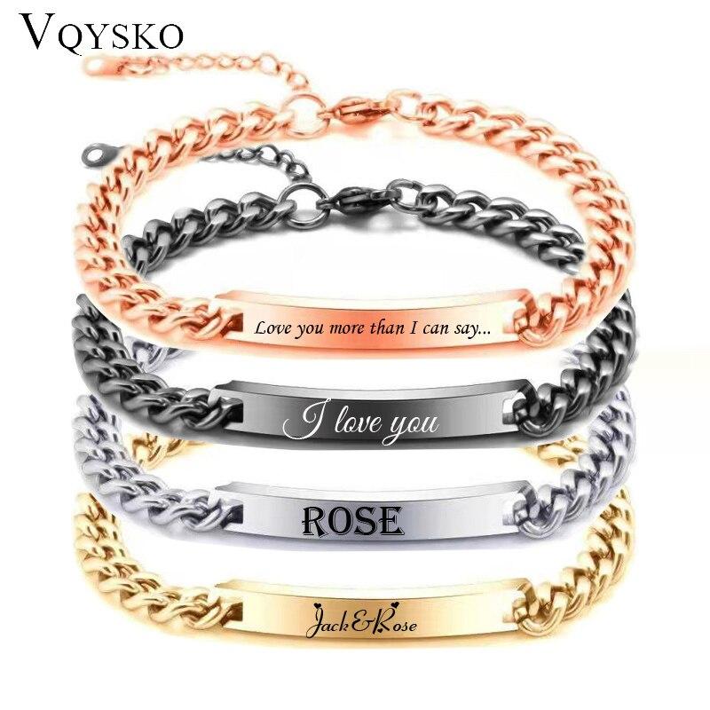 Hommes nom personnalisé ID barre Bracelet Valentine cadeau en acier inoxydable chaîne Bracelets pour homme personnaliser bijoux en gros