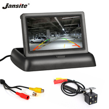 Jansite 4.3 polegada monitores do carro tft lcd monitor de visão traseira do carro display estacionamento retrovisor sistema para backup câmera reversa apoio dvd