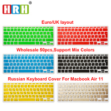 HRH 50pcs/Lot EU UK Russian Letter Alphabet Soft Silicone Keyboard Protector Flim Cover Skin For MacBook Air 11.6 Inch 11