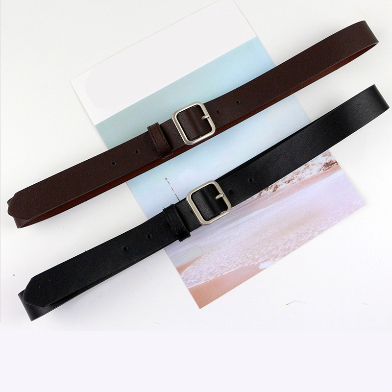 Women FamaBasic Fashion Belt Casual Square Buckle Waistband Simple Retro Pu Leather Clothing Accessories