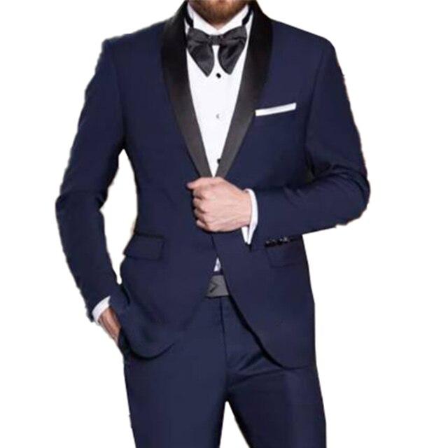 解像度ブルー結婚式テーラーメイドの結婚式のスーツ男性 2019 スタイリッシュブルースーツとパンツ衣装オムマリアージュ