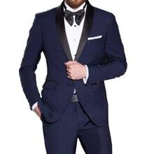 Risoluzione Blu Uomo Tuxedo abiti Da Sposa Su misura Abiti Da Sposa Per Gli Uomini 2019 Blu Alla Moda Vestiti Con Pantaloni Costume Homme Mariage