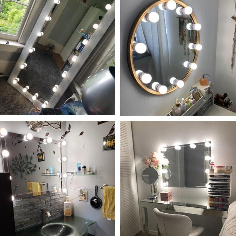 LED Make up Mirror Light Bulbs USB 12V Hollywood Wall Lamp Vanity Lights Bathroom Dressing Table Lighting Dimmable LED Wall Lamp